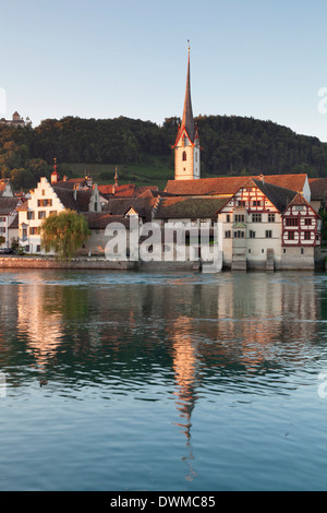 View over the Rhine River to the old town and St. Georgen monastery, Stein am Rhein, Canton Schaffhausen, Switzerland, - Stock Photo