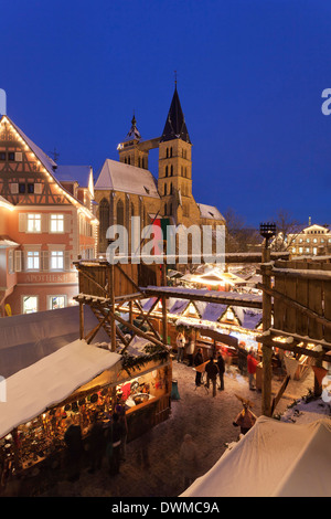 Christmas fair at the marketplace with Sankt Dionys church, Esslingen, Baden Wurttemberg, Germany, Europe - Stock Photo