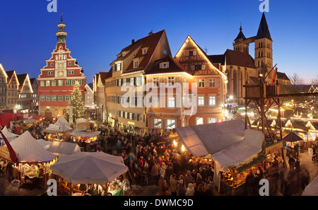 Christmas fair at the marketplace with old town hall and Sankt Dionys church, Esslingen, Baden Wurttemberg, Germany, - Stock Photo