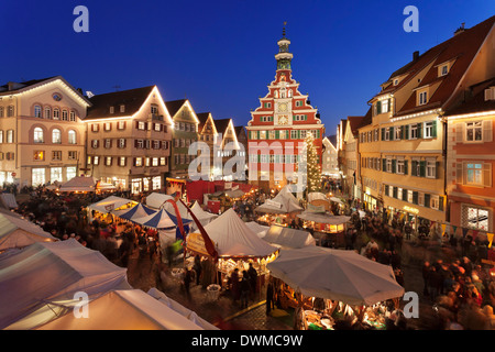 Christmas fair at the marketplace in front of the old town hall, Esslingen, Baden Wurttemberg, Germany, Europe - Stock Photo
