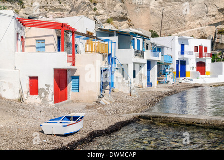 Colourful Syrmata in the fisherman's village of Klima on Milos Island, Cyclades, Greece - Stock Photo