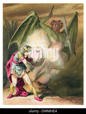 pollyon in a rage falls upon Christian - Stock Photo