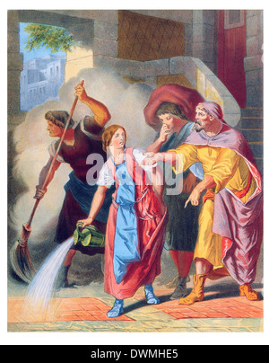 How the dusty room was swept - Stock Photo