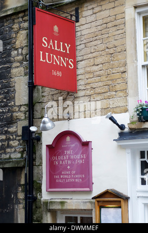 The signs outside Sally Lunns tearooms, Bath, England - Stock Photo