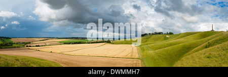 Panoramic landscape view of The Cherhill Downs, Wiltshire, England, United Kingdom, Europe - Stock Photo