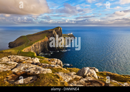 Neist Point and Lighthouse, Isle of Skye, Inner Hebrides, Highland and Islands, Scotland, United Kingdom, Europe - Stock Photo