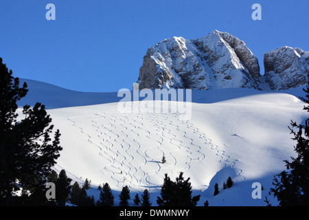 Sci tracks at Seiser Alm / Alpe di Siusi, South Tyrol / Alto Adige, Italy - Stock Photo
