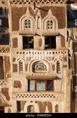 Elevated view of house architecture, Old City of Sanaa, UNESCO World Heritage Site, Yemen, Middle East - Stock Photo