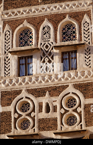 Architectural detail, Old City of Sanaa, UNESCO World Heritage Site, Yemen, Middle East - Stock Photo