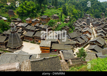 Drum Tower at Rongjiang, Guizhou Province, China, Asia - Stock Photo