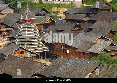 Drum Tower at Rongjiang, Guizhou Province, China, Asia - Stock Photo