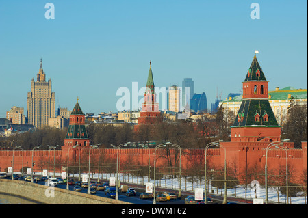 The Kremlin Wall and the business center, Moscow, Russia, Europe - Stock Photo
