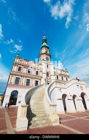 Town Hall, Rynek Wielki, Old Town Square, UNESCO World Heritage Site, Zamosc, Poland, Europe - Stock Photo