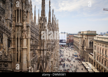 View over the Piaza Duomo from the Duomo (Cathedral), Milan, Lombardy, Italy,  Europe - Stock Photo