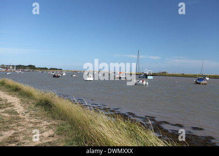 Path along the river Ore, Orford Quay, Suffolk - Stock Photo