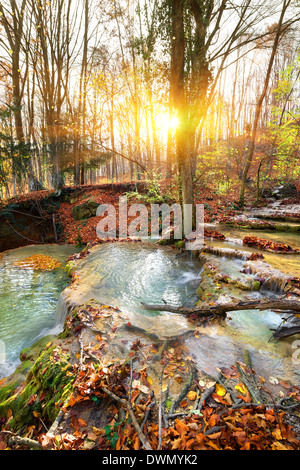 Cascade mountain river in a forest in autumn - Stock Photo