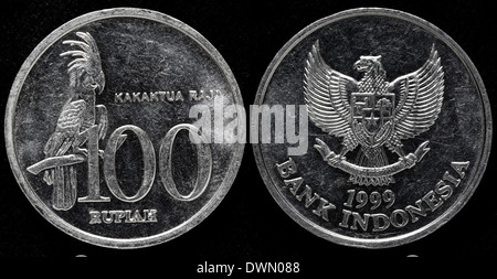 100 Rupiah coin, Indonesia, 1999 - Stock Photo