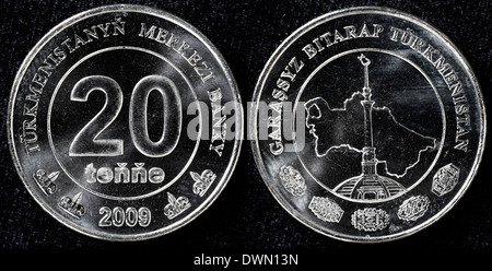 20 tenge coin, Turkmenistan, 2009 - Stock Photo