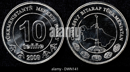 10 tenge coin, Turkmenistan, 2009 - Stock Photo