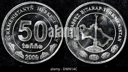 50 tenge coin, Turkmenistan, 2009 - Stock Photo