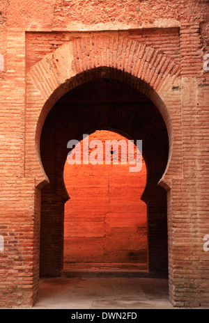 An archway inside the Alhambra, UNESCO World Heritage Site, Granada, Andalusia, Spain, Europe - Stock Photo
