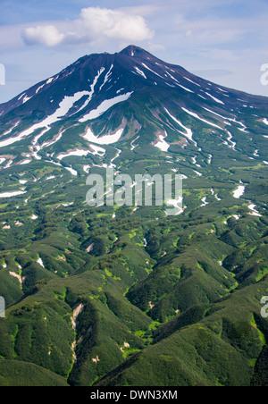 Ilyinsky (volcano) on Kurile lake, Kamchatka, Russia, Eurasia - Stock Photo