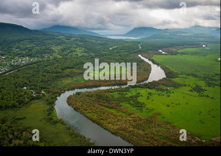 Aerial of a river bend in the untouched south of Kamchatka, Russia, Eurasia - Stock Photo