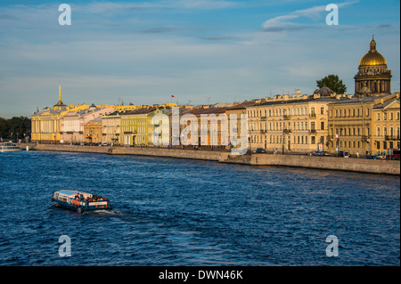 City center of St. Petersburg from the Neva River at sunset with St. Isaac Cathedral in the background, St. Petersburg, - Stock Photo