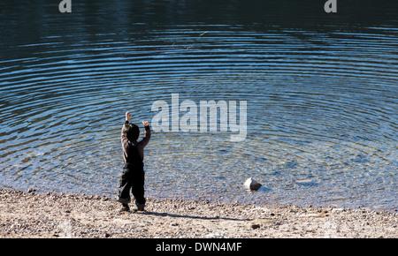 Sea, Little Boys, Child, Storm, Small, Beach - Stock Photo