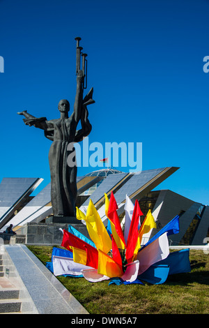Hero Statue on the Hero City Obelisk, Pieramohi Park, Minsk, Belarus, Europe - Stock Photo