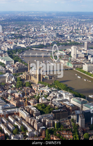 Aerial view of the Houses of Parliament, Westminster Abbey and London Eye, London, England, United Kingdom, Europe - Stock Photo