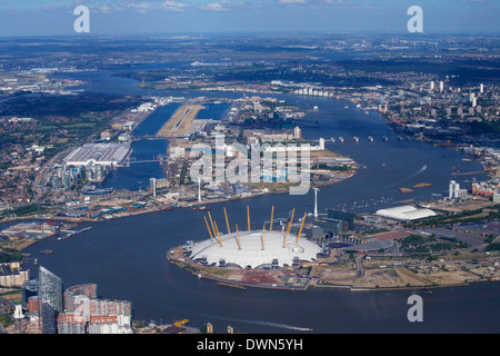 Aerial view of London City Airport and O2 Arena, London, England, United Kingdom, Europe - Stock Photo
