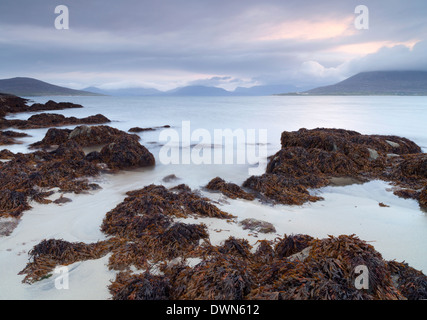 A beautiful morning looking across the Sound of Taransay from Horgabost, Isle of Harris, Outer Hebrides, Scotland, - Stock Photo