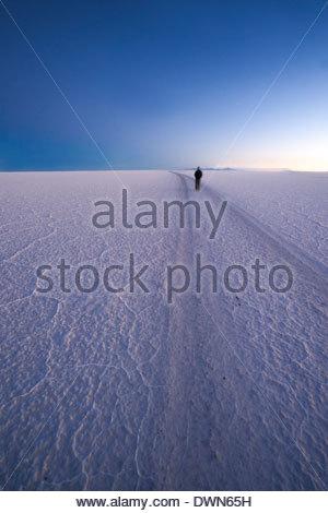 Lone person in distance walks on deserted salt flats at twilight, Salar de Uyuni, Bolivia, South America - Stock Photo