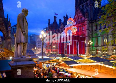 Christmas Market and Town Hall, Albert Square, Manchester, England, United Kingdom, Europe - Stock Photo