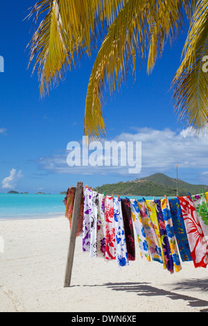 Beach and vendor's stall, Jolly Harbour, St. Mary, Antigua, Leeward Islands, West Indies, Caribbean, Central America - Stock Photo