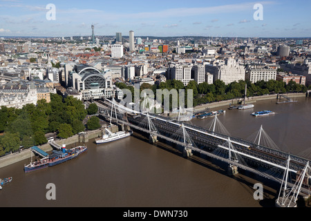 Charing Cross Station and Hungerford Bridge, London, England, United Kingdom, Europe - Stock Photo