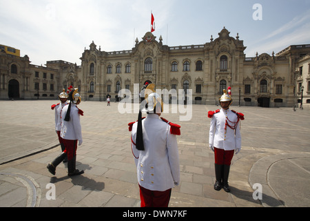 The Government Palace of Peru, known as House of Pizarro, Lima, Peru - Stock Photo