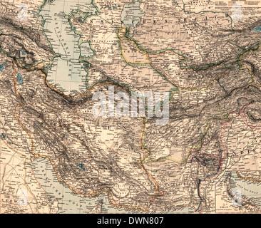 Map of Iran & Turan 1891 - Stock Photo