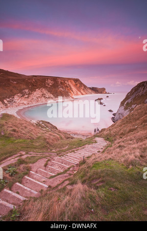 Man Of War cove on the Jurassic Heritage coastline. It is protected by UNESCO as a World heritage site. - Stock Photo