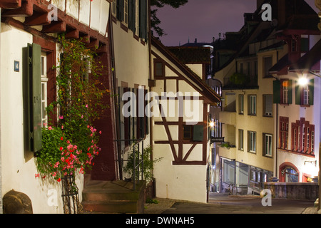 Half timbered houses in the city of Basel, Switzerland, Europe - Stock Photo