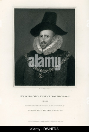Portrait of Henry Howard, 1st Earl of Northampton. Significant English aristocrat and courtier. - Stock Photo