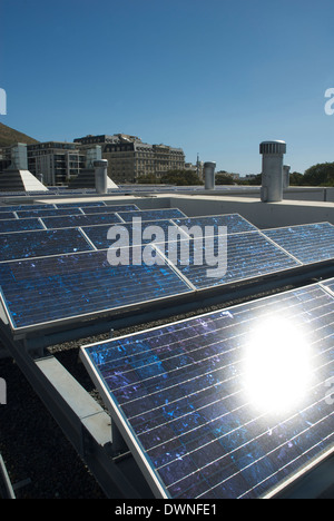 Solar panels on the roof of the BP Building, Cape Town, South Africa, March 2009 - Stock Photo