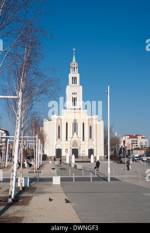 The Roman Catholic Church of Parish Of the purest Heart of Mary in Warsaw - Prague, the right side of the Vistula - Stock Photo
