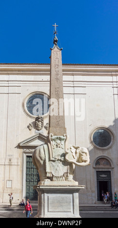 Bernini's Elephant, Obelisk carrier, created by Ercole Ferrata to a design by Gian Lorenzo Bernini, Rome, Lazio, - Stock Photo