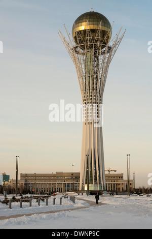 Bayterek tower in winter, Astana, Kazakhstan - Stock Photo
