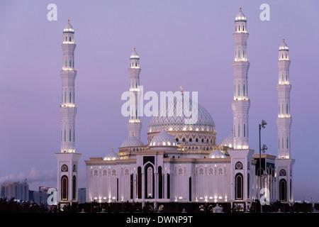 Nur-Astana Mosque at dusk, Astana, Kazakhstan - Stock Photo