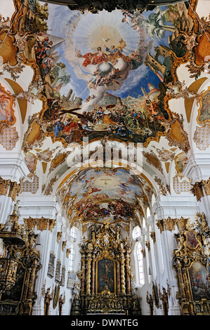 Heilig-Kreuzkirche, Church of the Holy Cross, built in 1754, ceiling frescoes by Thomas Scheffler, Landsberg am - Stock Photo