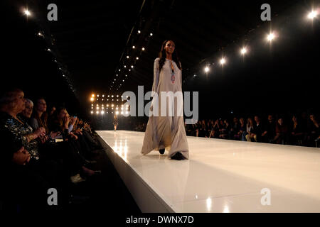 A model presents a creation by Israeli designer Tovale during the Tel Aviv Fashion Week on 11 March 2014. Dozens - Stock Photo