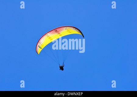 Paragliders at the Puy-de-Dôme volcano, Puy-de-Dôme, France - Stock Photo